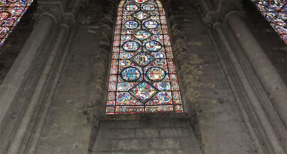 The stained-glass windows