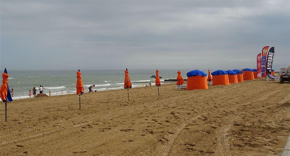 The umbrellas on the beach