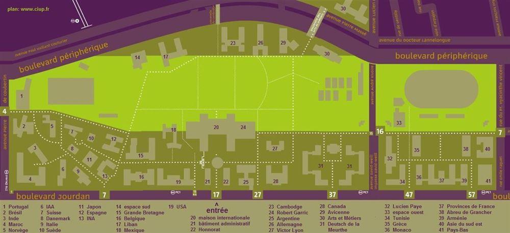 The map of the Cité Universitaire