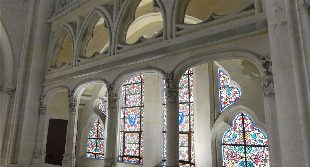 View of the stained glass windows of the Chapel