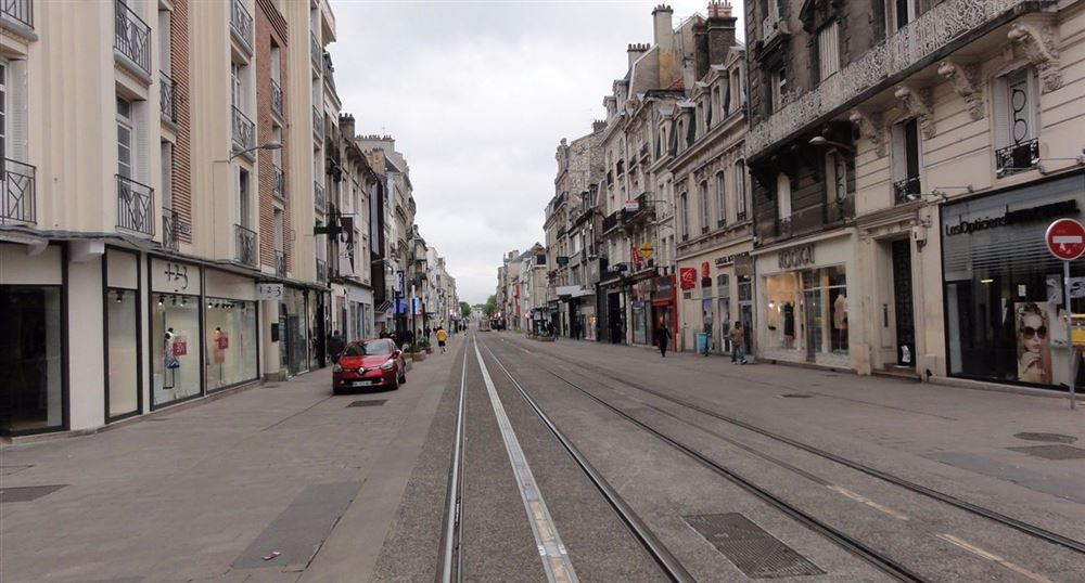 The town center of Reims