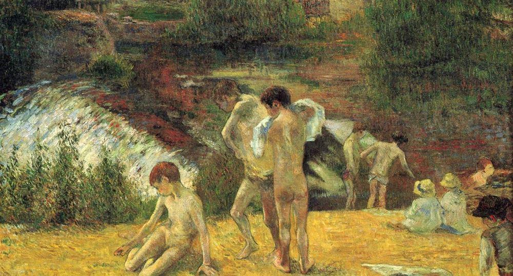 La baignade au moulin du Bois d'Amour par Gauguin
